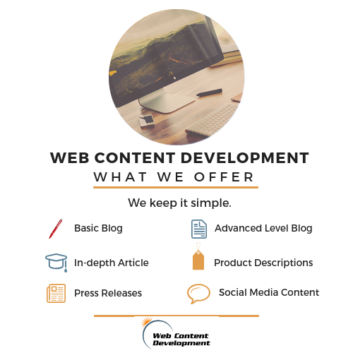 The content levels offered at Web Content Development.