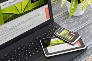 responsive web site on mobile devices phone, laptop and tablet pc