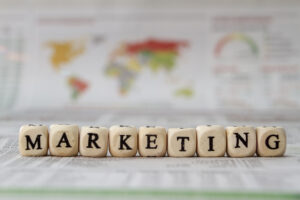 marketing word built with letter cubes