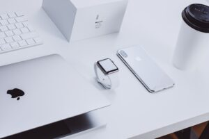 apple products on top of desk